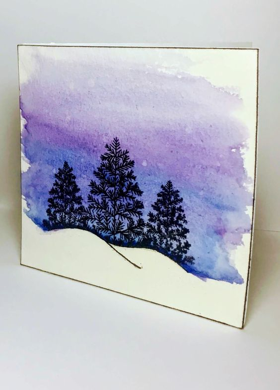 Blue and Purple Watercolor Christmas Tree Card