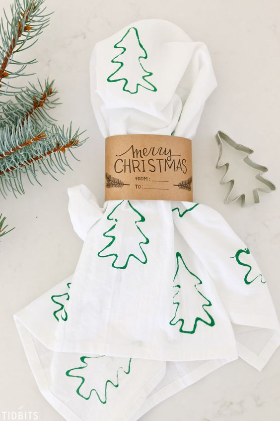 Cookie Cutter Stamped Christmas Tea Towels