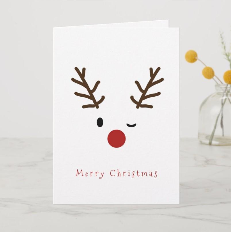 Cute Winking RudolfReindeer Christmas Card