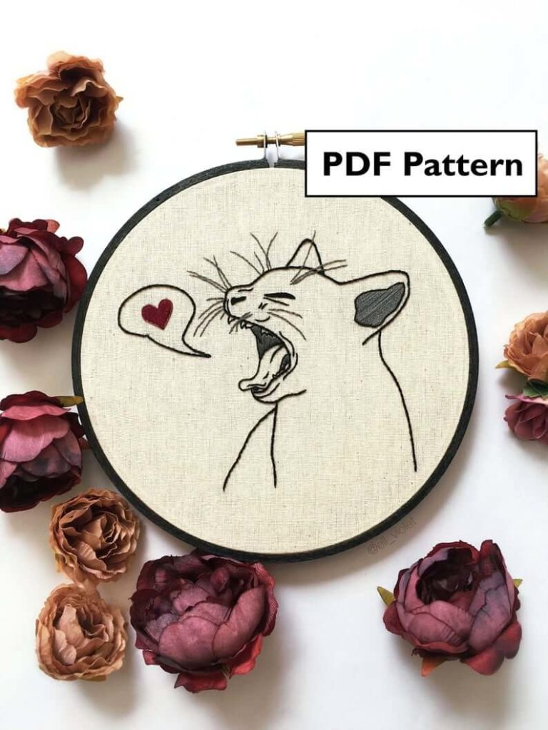 Hand-embroidery Cat Pattern