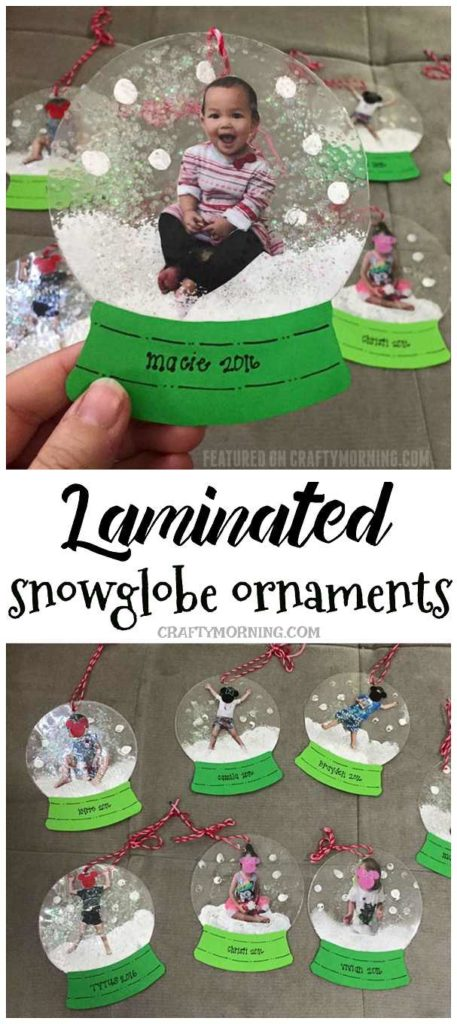 Laminated Photo Snowglobe Ornaments