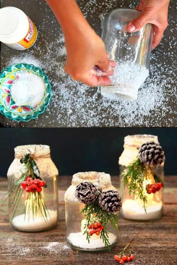 Snowy Mason Jar Centerpieces