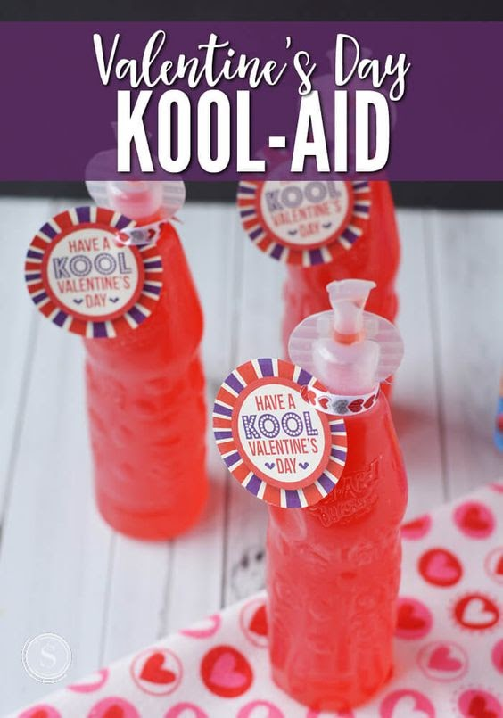 "A ""Kool-aid"" Juices With Valentine's Day Tags"