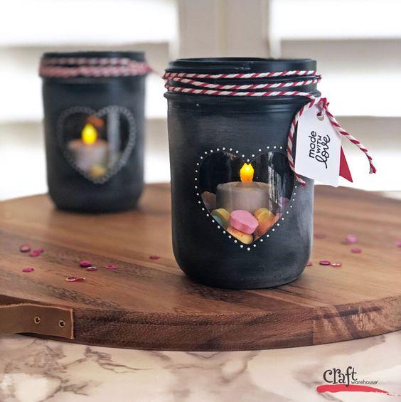 Chalkboard Heart Jar