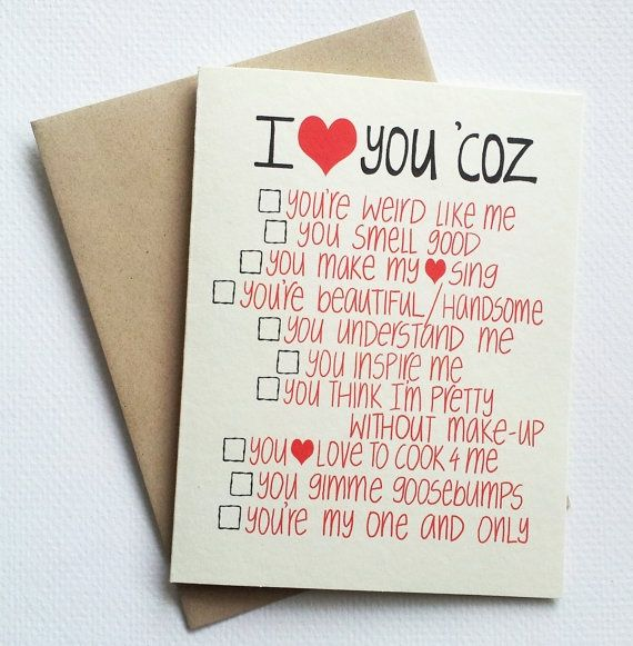 Checklist Valentine Card