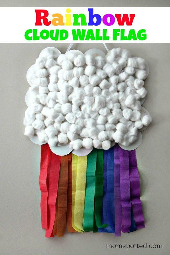DIY Rainbow Cloud Wall Flag