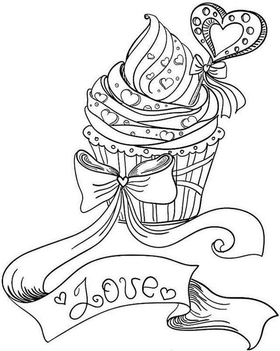 Food-Themed Valentine Coloring Pages 2