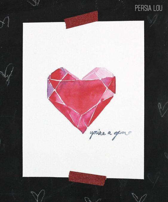 Gemstone Heart Painting