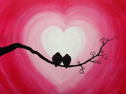 Heart Branch with Birds