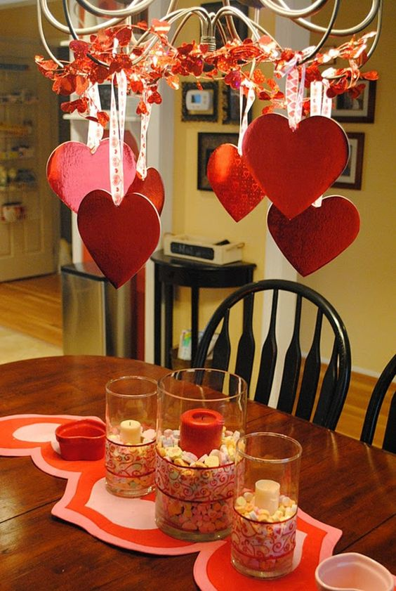 Heart Chandelier and Dining Table Centerpiece
