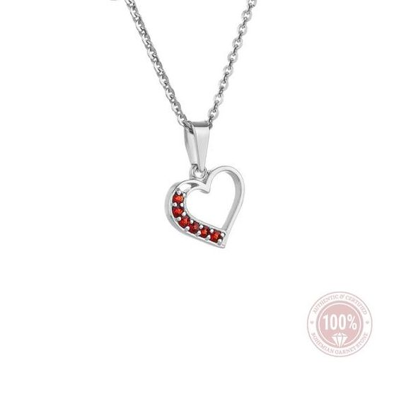 Heart Necklace with Bohemian Garnet