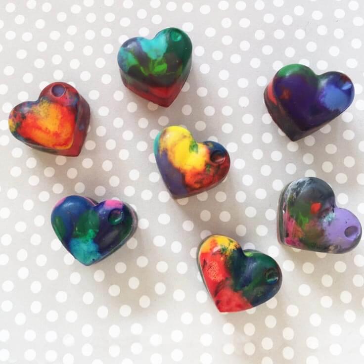 Heart crayons
