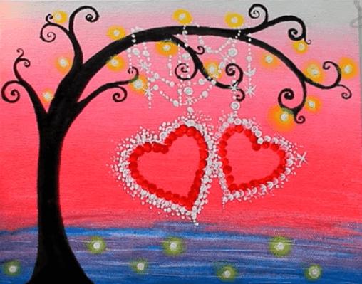 Hearts Dangling Off Tree