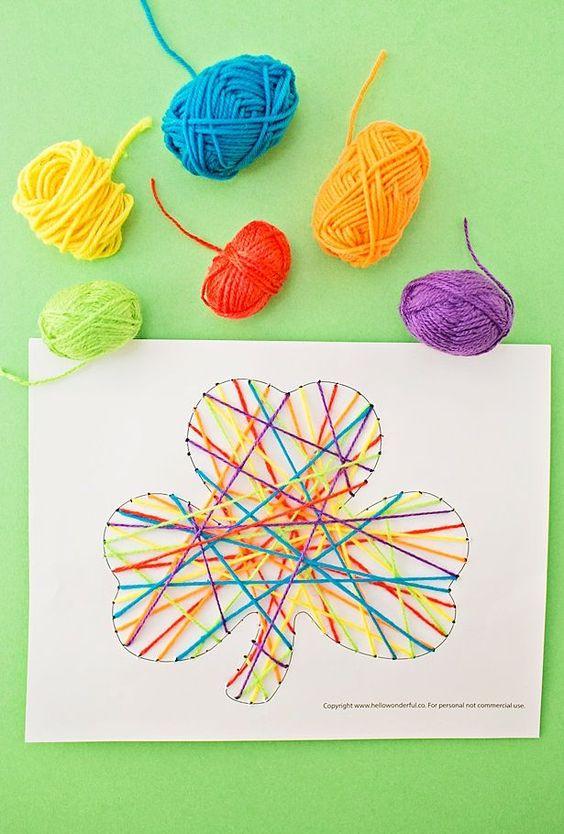Rainbow Shamrock String Art