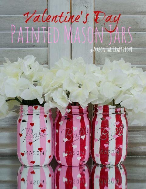 Striped Mason Jars