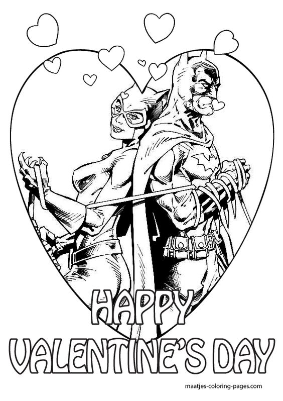 Superheroes Valentine Coloring Pages 2