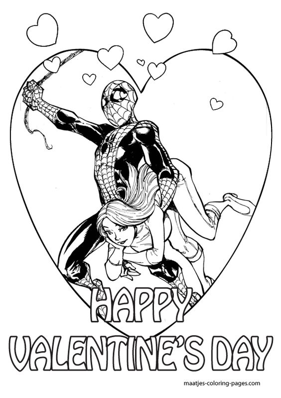 Superheroes Valentine Coloring Pages 3