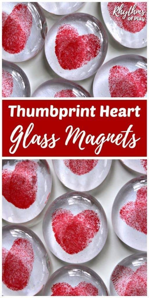 Thumbprint Heart Glass Magnets