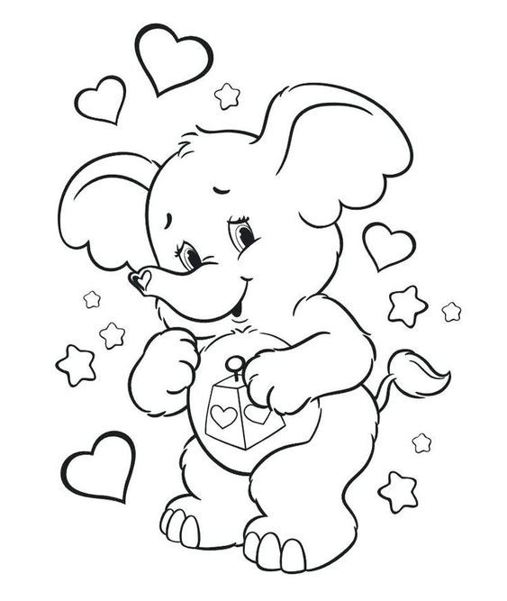 Valentine Coloring Pages with Animals 1