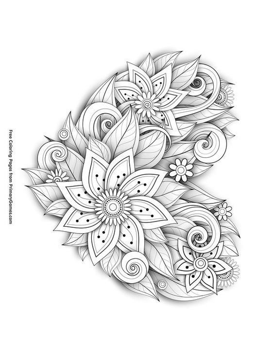 Valentine Coloring Pages with Flowers