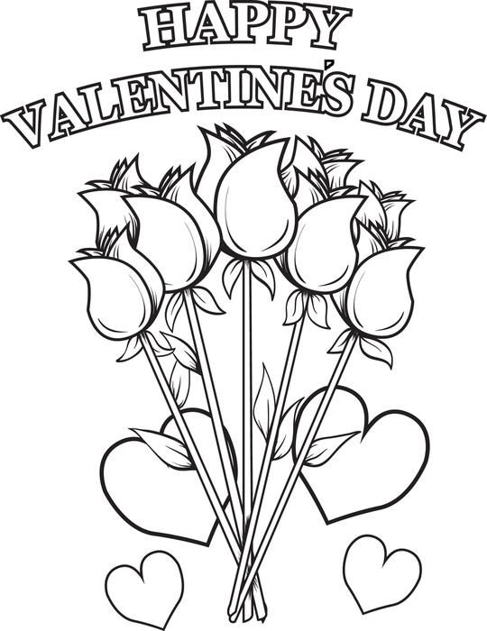 Valentine Coloring Pages with Flowers 2