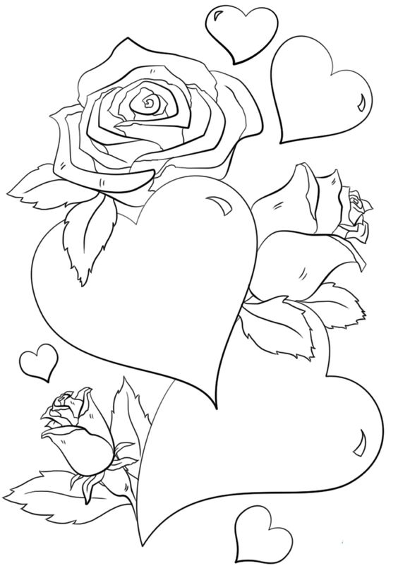 Valentine Coloring Pages with Flowers 3