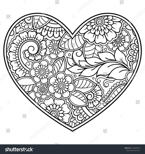 Valentine Coloring Pages with Flowers 4