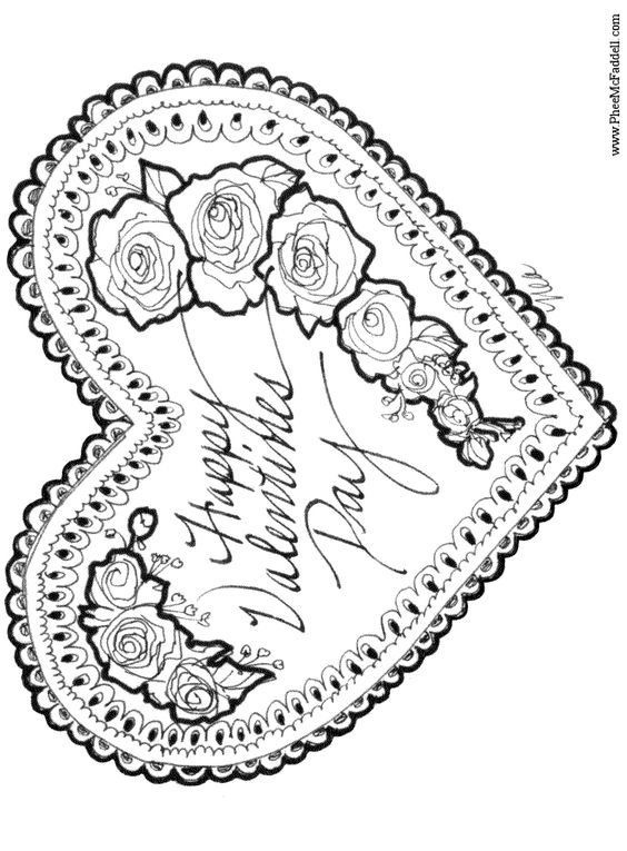 Vintage Valentine Coloring Pages 4