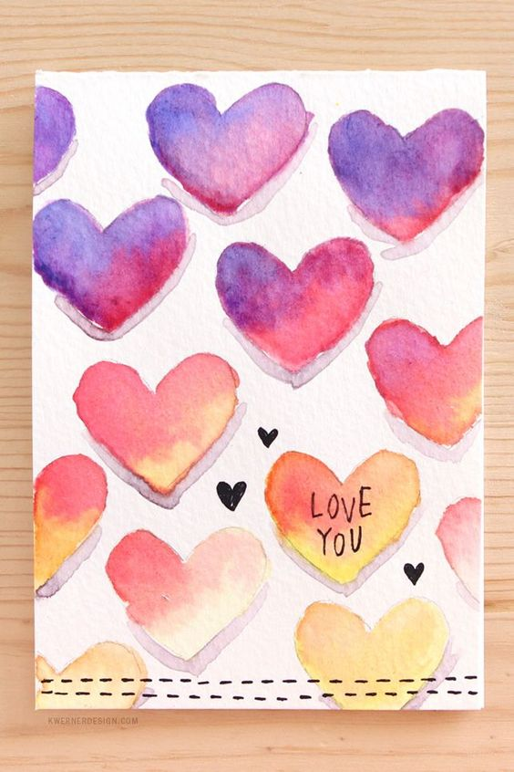 Watercolor Candy Hearts
