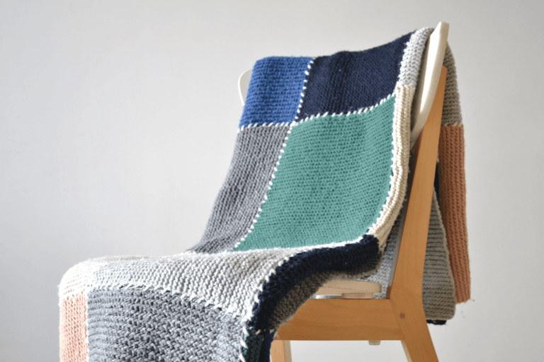 Block Blanket Free Knitting Pattern for Beginners