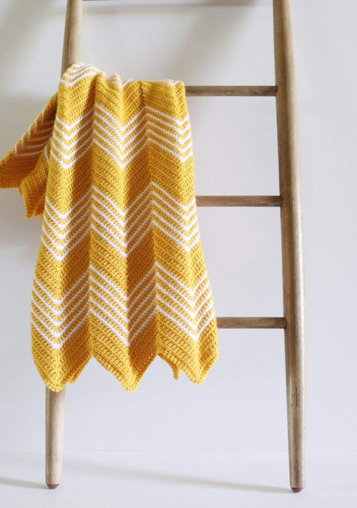 Crochet Gold Front Loop Blanket
