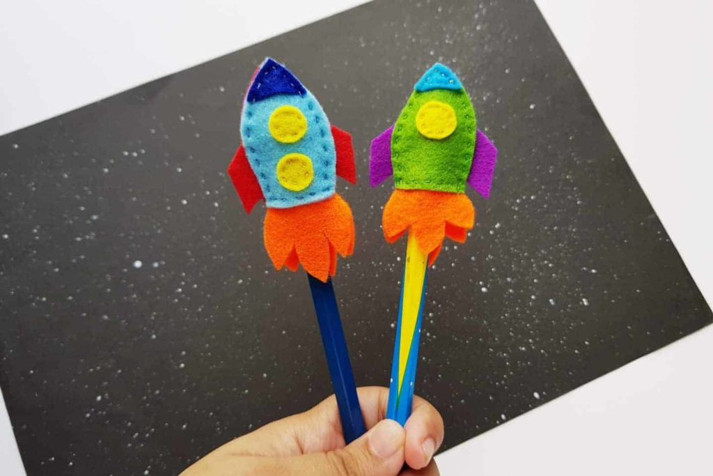 DIY Space Rocket Pencil Toppers