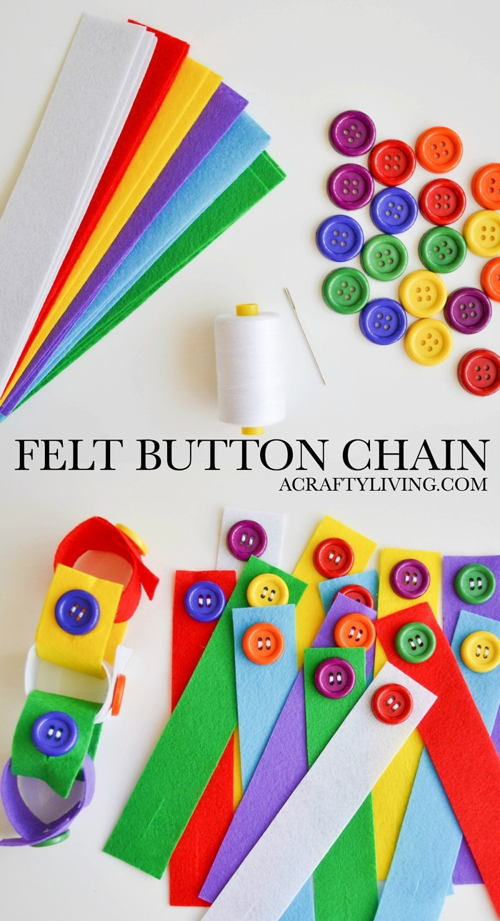 Felt Button Chain for Toddlers