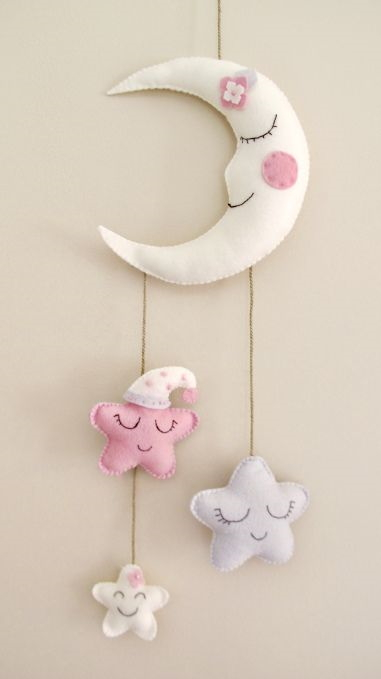 Felt Moon and Stars Nursery Wall Decoration