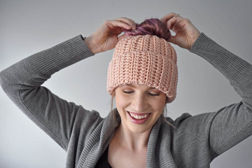 Free Messy Bun Crochet Hat Pattern -48