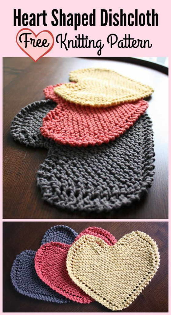 Knitted Heart-shaped Dishcloth