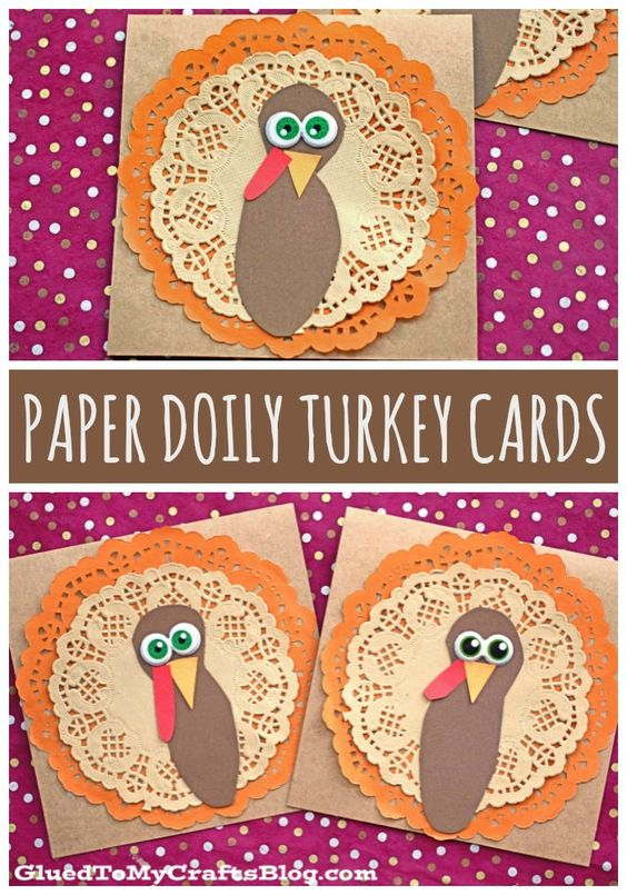 Paper Doily Turkey Cards