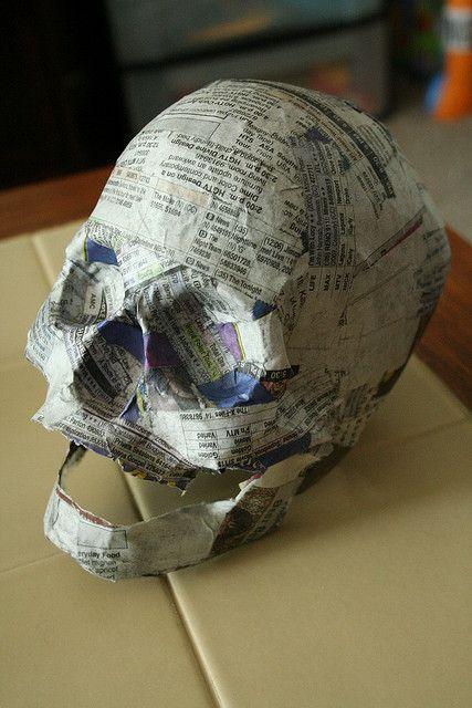 Paper Mache LED Skull