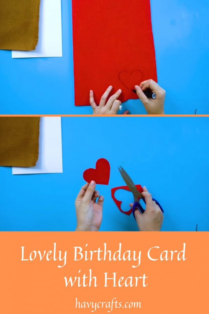 Step 2 of Birthday card in heart shape