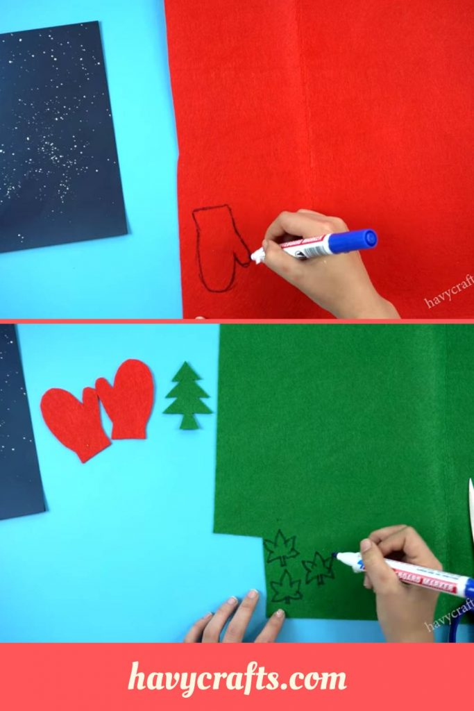 prepare decorative papers for Christmas card