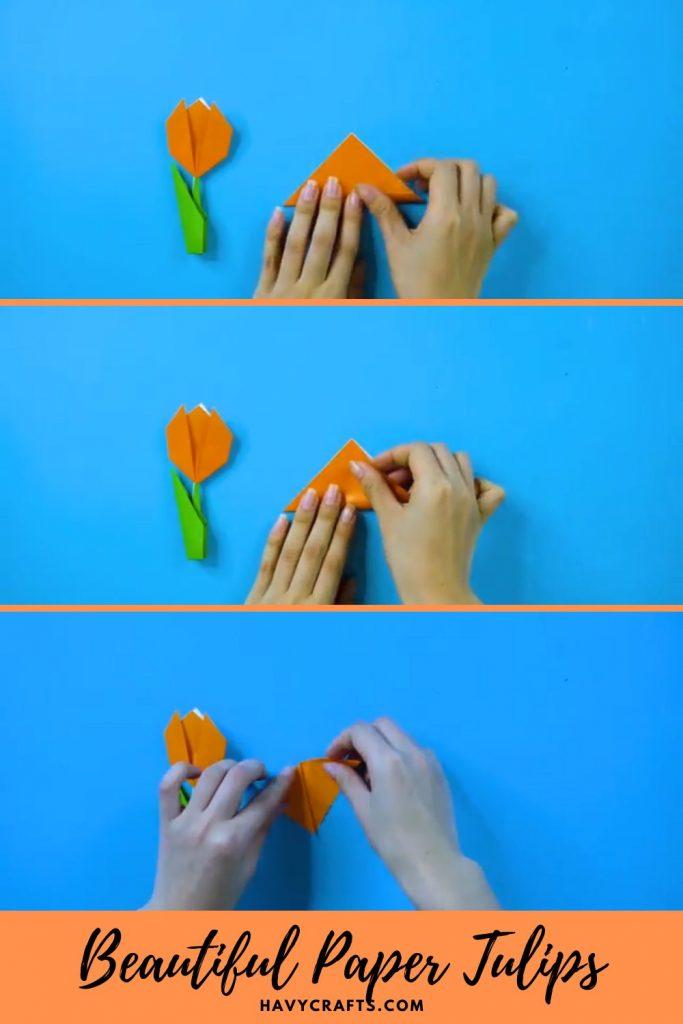 Step 1 of beautiful paper tulip flowers