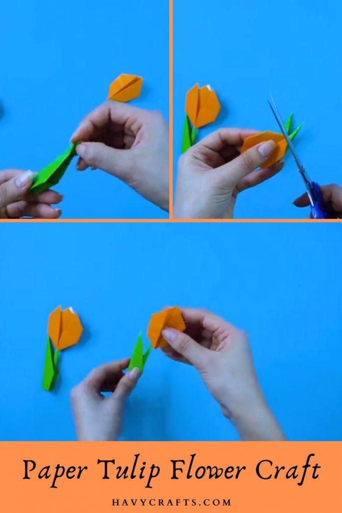 Step 3 of beautiful paper tulip flowers