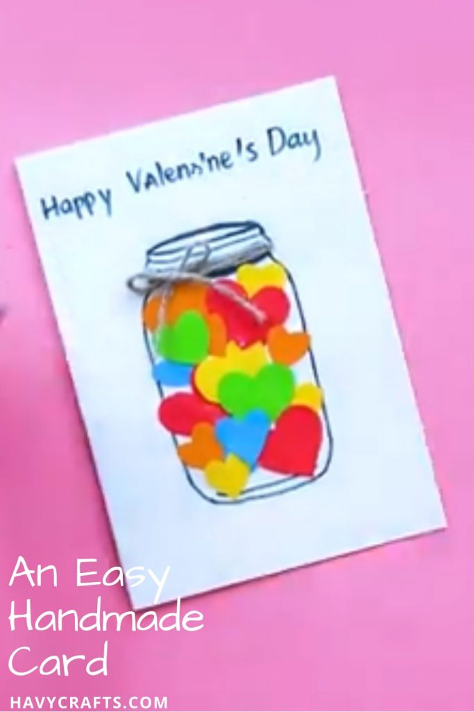 Handmade card is used for Valentine's Day