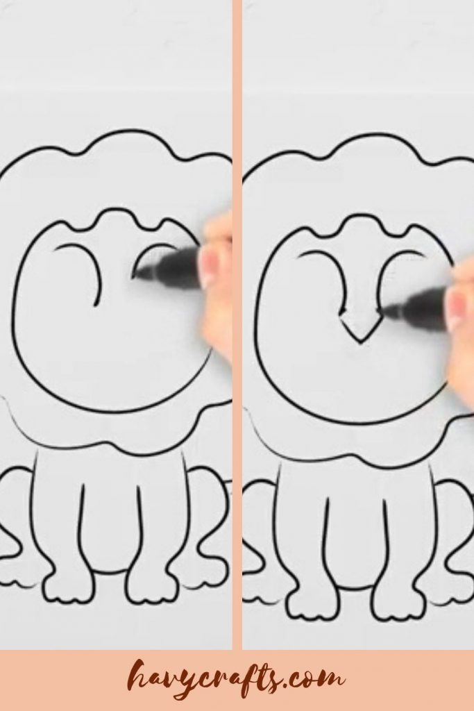 Drawing the lion's eyebrows and nose