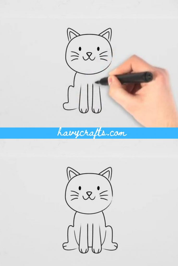Draw back legs and body for the cat