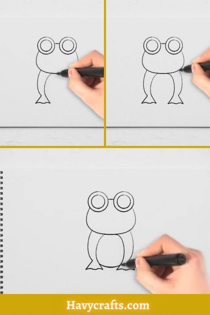 Draw the frog's forelegs