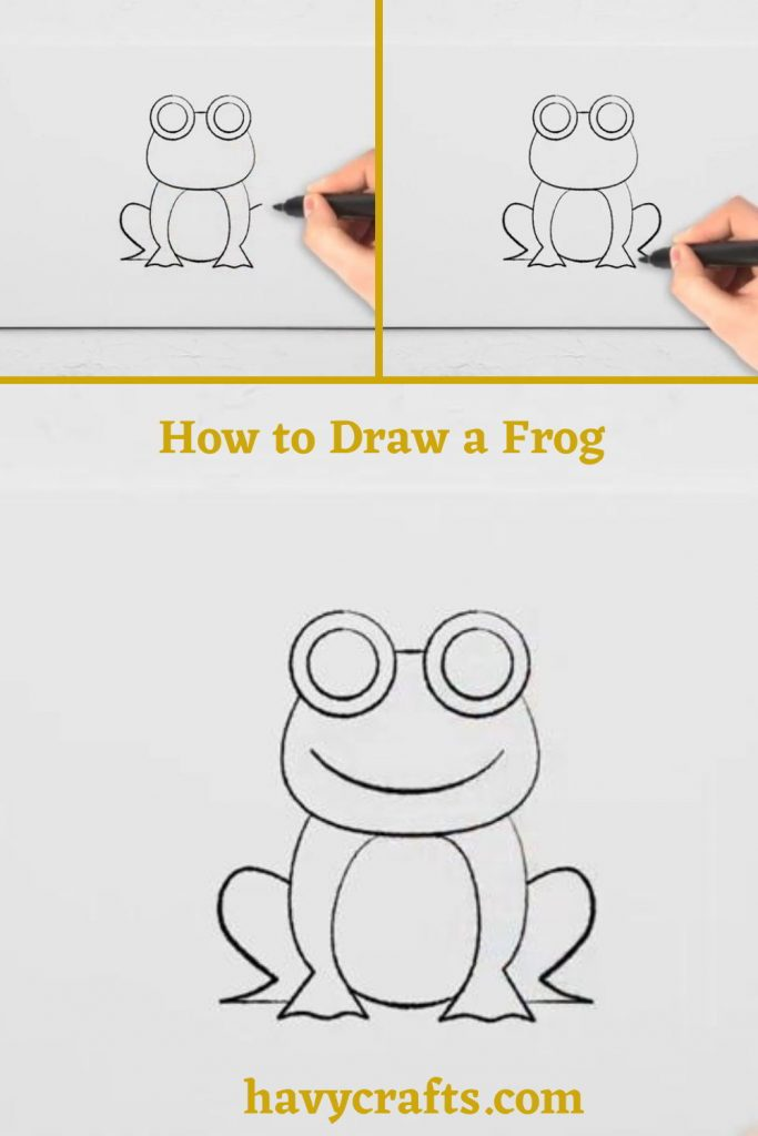 Draw the frog's hind legs and face