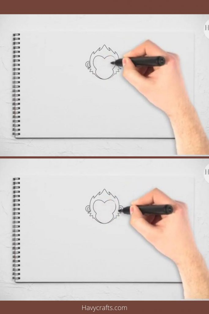 Draw the monkey's ears