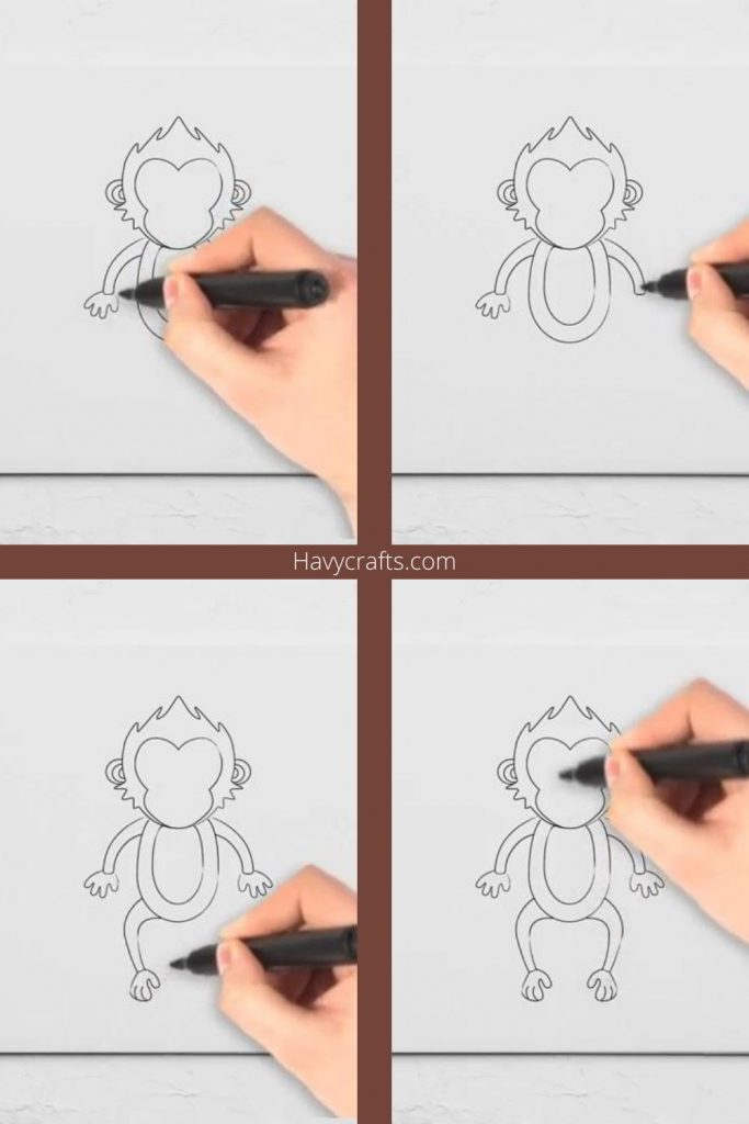 Draw the monkey's arms and legs