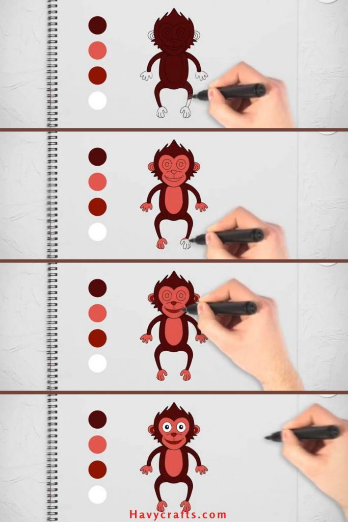 Color of how to draw a monkey